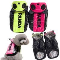 Nylon Taffeta Material Panda Design Dog Clothes Pet Hood Coat Yellow + Pink Color