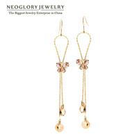 Neoglory Crystal Rhinestone 14k Gold Plated Tessel Dangle Earrings For Women Charm Jewelry 2014 Brand New Gift Romantic Costume