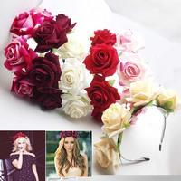 U Pick Handmade Floral Crown Rose Flower Headband Hair Garland Wedding Headpiece