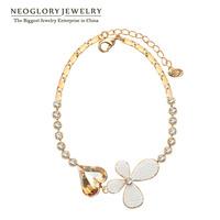 Neoglory Austria Heart Crystal Flower Pearl Fashion Bangles & Bracelets Women Fashion Jewelry Accessories 2014 New Charm