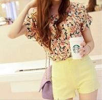 2014 hot sale women t shirt summer O-Neck short-sleeve printed Beauty pattern t-shirts women's chiffon shirt Casual Tops tees