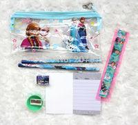 200sets Wholesale- lots Frozen princess doll pattern stationery set/school supplies/pencil case/ruler/note book /eraser/kid gift
