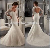 vestidos de noiva lace wedding dress open back mermaid wedding dresses with sleeve chapel train wedding gowns robe de mariage