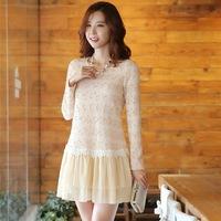 Fashion ladies dresses 2014 autumn long-sleeve o-neck gold stripe knitted women woolen dress