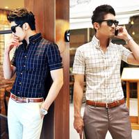 Summer MEN'S short-sleeve shirts men casual plaid shirt fashion slim fit cotton super quality fashion brand new high collar
