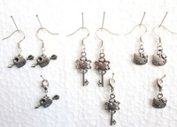 60 Pair Vintage Love Heart &Key& Cats Head Charm 925 Sterling Silvers Long Dangle Earrings +Charms Clasp Clip For Woman DIY X361