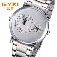 EYKI brand watch men stainless steel watches army dual time display 10m waterproof calendar analog import quartz movement clock