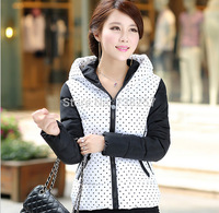 Wholesale Fashion Ladies Speckle Stitching Hoody Coat Cotton Jacket Coat 2014 Winter Coat Women Warm Outwear Casual Down Jacket