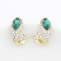 Europea Fashion Gold Earring Metal Green Crystal Snake Earring