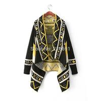 2014 new fashion women elegant vintage geometric figure irregular Knitted Cardigans Lady winter Casual Slim sweater coat#E793