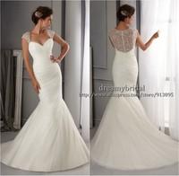 Vestido De Noiva Sereia Sexy Sheer Lace Bead Mermaid Wedding Dress 2014 Gown Wedding Bride Dress Casamento Robe De Mariage 2014