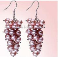 free shipping 4-5MM genuine freshwater pearl dangle earring Handmade jewelry 520/