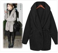Womens Cloak Hooded Thickened Coats Outerwear Overcoat Faux Woolen Winter Coat Jacket US One Size Black Khaki Grey White  A091