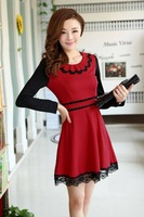 Autumn 2014 New Women Cute Dress Knitting Mini Full Sleeve OL Princess Dress With Lace Red Black Blue B1187 Free Shipping