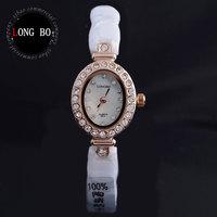 LONG BO Boutique brand white ceramic Rhinestones 30 m waterproof Ms watches