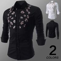 Quality ! 2014 personality flower print long sleeve dress fashion shirt  men.Korean Slim Design,Formal Casual Male floral Shirt