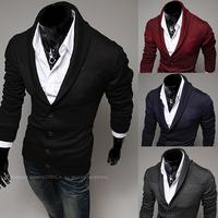 2014 autumn turn-down collar male cardigan color block decoration the trend slim sweater