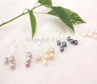 wholesale mix 36pairs 5MM 3line genuine freshwater pearl dangle earring Handmade jewelry 522/