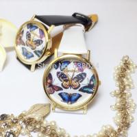 500 pcs/lot Fashion Crystal 3D Butterfly Quartz Watch Geneva Polymer Clay Handmade Watches Cartoon Flower Women Dress Wristwatch