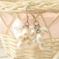 wholesale 10pairs 5-6MM white genuine freshwater pearl dangle earring Handmade jewelry 521/