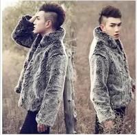 14 male rabbit fox fur coat simulation Men Slim Coat Winter Special silver hair sweater collar