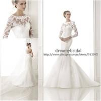 Custom Made 2015 New Fashion Mermaid Long Sleeve Lace Sexy Corset Wedding Gowns Vestido de Noiva Wedding Dresses Free Shipping