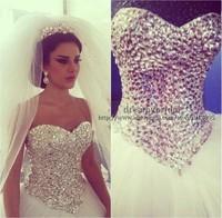 Real Photo Sexy Corset Ball Gown Vestido de Noiva Sweetheart Crystal Beaded Open Back Tulle Wedding Dresses White Custom Made