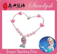 Beautiful  Handmade Pink Snowflake Elsa Frozen Necklace for Girls