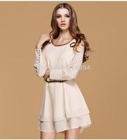 Fashion 2014 Women New Rivet Dress Casual Chiffon Solid Long Sleeve Body Fit OL Dress+Belt B1143 Free Shipping