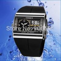 original OHSEN Newest Analog Digital watch LCD Backlight dual display Brand dz multifunction waterproof men sport watches