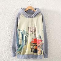 2014 Autumn Winter Women Hoody Sweatshirts Fashion Printed Ladies Thicker Fleece Casual Hooded Sweater With Street Pattern Sale