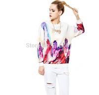 2014 New fashion Europe Women vogue High-rise building digital printed  Hoodies Lady winter elegant brand design Pullovers #E797