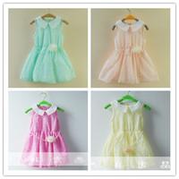 Hu sunshine wholesale new 2014 autumn Hot sale  girl's temperament colorful half sleeve  flower print Princess Dress for girls