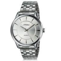 SINOBI 9502 Men's Fashionable Analog Quartz Wrist Watch with Stainless Steel Band (White)