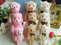10PCS Mini 8CM Joint Bowtie Teddy Bear DOLL ; Plush Stuffed TOY DOLL ; Wedding Gift & Bouquet Decor TOY DOLL