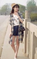 2014 in Europe and the United States retro classic grid sleeve chiffon shirt long small coat free shipping 00070
