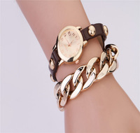 Fashion & casual latest retro bracelet with gold plated chain rivet men's women's Dress Watches lover's wristwatches