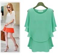 XL - XXXXXL Large size women fat mm 2014 new summer chiffon shirt Increase was thin short-sleeved shirt sunscreen Women's shirts