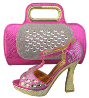 Fashion nice matching shoes and bag set  EVS303 fushcia size 38 to 42 high heel 4.5 inch for retail/wholesale free shipping