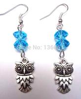50 Pair Fashion Vintage Silver Big Eye Owl &Crystal Bead Charm   Long Dangle Earrings  For Woman Jewelry DIY X387