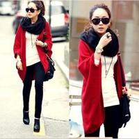 Hot Sale 3 Color 2014 Autumn Fashion Bat Sleeve Loose Code Cloak Sweater Coat Winter Dresses Shawl Knit Cardigan 038#