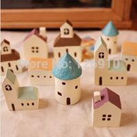 Free shipping Zakka Sunaries Wholesale Retail Home Decoration Birthday Gift Present Euro-style Resin House 5pcs/set