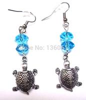 50 Pair Fashion Vintage Silver Beautiful Turtle&Crystal Bead Charm   Long Dangle Earrings  For Woman Jewelry DIY X388