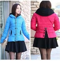 Women Hit Colour Slim Split Back Down Cotton Overcoats Plus Size Hooded Warm Winter Jacket Fashion Coat Parka New 2014 Hot sell