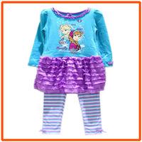 Girl Frozen Clothing Set Children Dresses & Leggings Sets New 2014 Wholesale Children Cartoon Princess Clothes XH-9841