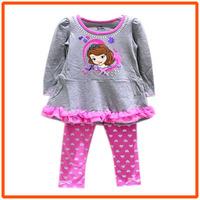 Girl Sofia Clothing Set Children Dresses & Leggings Sets New 2014 Wholesale Children Cartoon Princess Clothes XH-9847