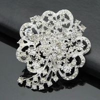 2.4 Inch Rhodium Silver Plated Rhinestone Crystal Diamante Brooch Wedding Bridal Bouquet Jewelry Pins