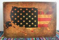20*30CM USA Retro Map Metal Signs Bar Pub Wall Decor Tin Sign Iron Painting Vintage Poster Plaques