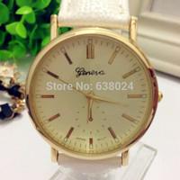 500pcs/lot New Fashion Geneva Gold Steel Leather Watch Men Quartz Watches Ladies Women Dress Wristwatch