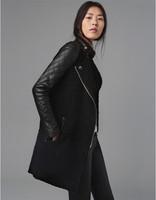Fashion Winter Coat Women PU Leather Coat Sleeve Wind Coat European Style Winter PU Overcoat,Free Shipping,Plus Size Black  A094
